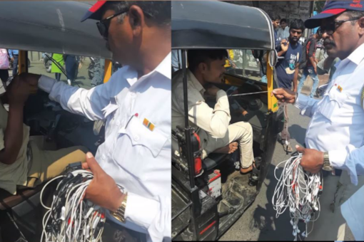 """Police burn the headphones of autorickshaw drivers. (Image source: YouTube/ <a href=""""https://www.youtube.com/watch?v=zn2-mNVG9pg&feature=youtu.be"""">HP Live News</a>)"""