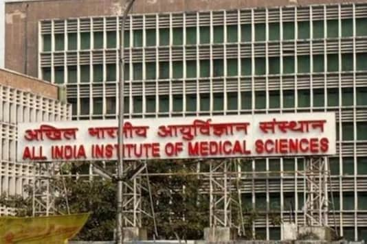 A view of AIIMS building in New Delhi.