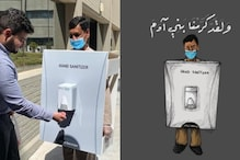 A Saudi Arabian Company Dressed a Migrant Worker as a Hand Sanitizer Bottle