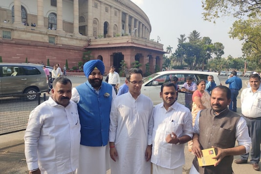 Five of the Congress MPs who were suspended for 'unruly ' behaviour outside Parliament on Thursday. (News18)