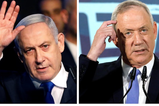 A combination picture shows Israeli Prime Minister Benjamin Netanyahu in Tel Aviv, Israel November 17, 2019, and leader of Blue and White party Benny Gantz in Tel Aviv, Israel November 20, 2019. (Reuters)