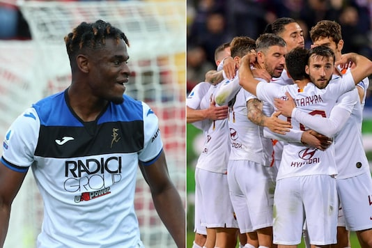 Atalanta's hat-trick hero Duvan Zapata (L) and AS Roma (Photo Credit: @Atalanta_BC/@ASRomaEN)