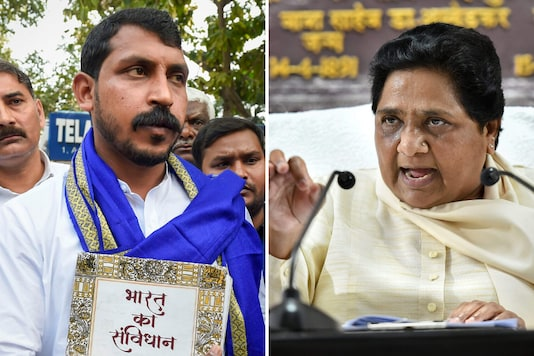 File photos of Bhim Army chief Chandra Shekhar Aazad and BSP chief Mayawati. (PTI)