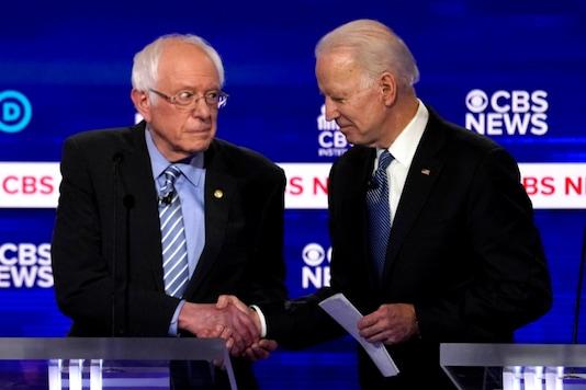 Democratic 2020 US presidential candidates Senator Bernie Sanders and former Vice President Joe Biden.