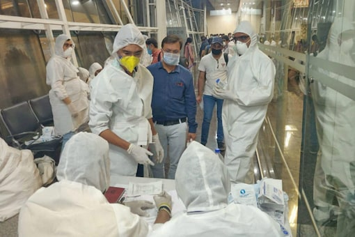 For representation: Health officials screen passengers arriving from Dubai before being sent to hospital in view of the coronavirus pandemic, in Indore (PTI Photo)