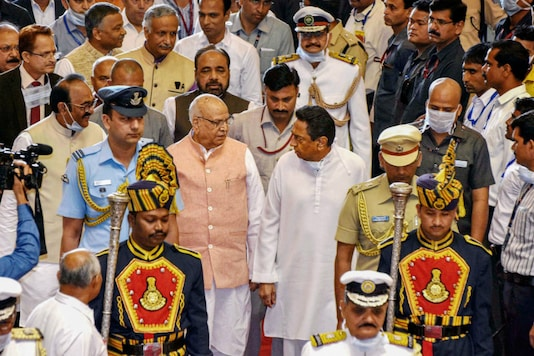 Madhya Pradesh Governor Lalji Tandon, Chief Minister Kamal Nath and others arrive for the budget session of state assembly, in Bhopal on March 16, 2020. (PTI Photo)