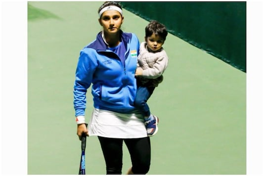 Sania Mirza with her son at the Fed Cup match in Dubai | Image credit: Twitter