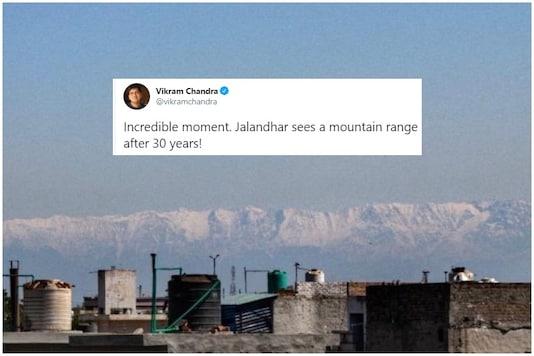 The Dhauladhar range in hHimachal Pradesh as seen in Jalandhar | Image credit: Twitter