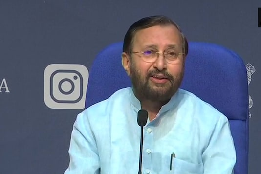 File photo: Union Minister Prakash Javadekar addresses the cabinet briefing on Monday. (Image: Twitter/ANI)