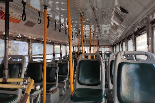 Inside a BEST bus that stands parked at the Andheri bus depot. While buses are plying to aid travel for essential services and professionals, the volume of passengers is a fraction of what it was in normal times.