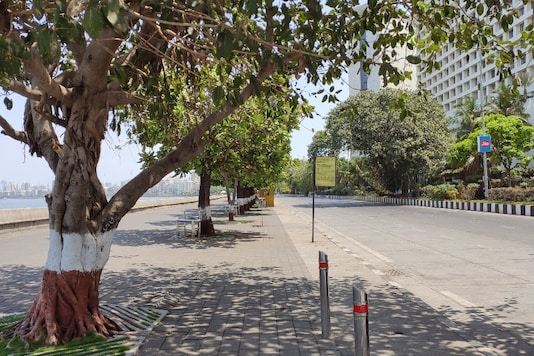 Usually populated parts of the promenade in front of The Trident, Nariman Point stand entirely empty.