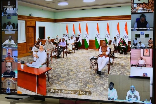 PM Narendra Modi at a virtual meeting with leaders on Wednesday.