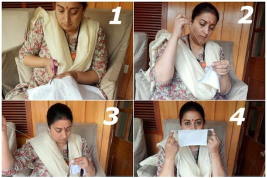 Smriti Irani leads by example as she shares photos of herself sewing a mask | Image credit: Twitter