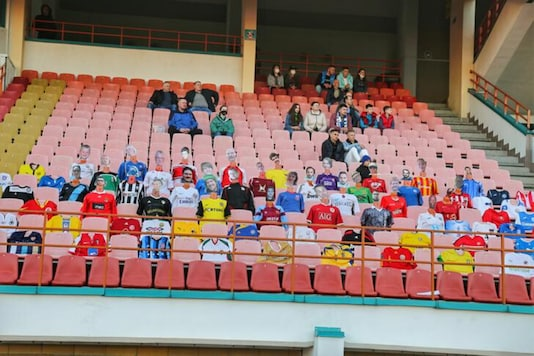 2020Mannequins dressed in football jerseys with cut-out portraits of fans from different countries are seen in the stands (Photo Credit: Reuters)