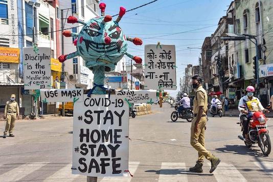 A file photo shows an effigy on coronavirus in Hyderabad. (PTI)