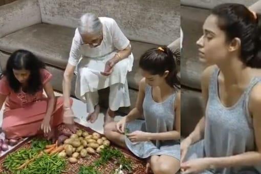 Nushrat Bharucha Shares 'Kahani Ghar Ghar Ki' as She Sits with Her Family to Clean Veggies