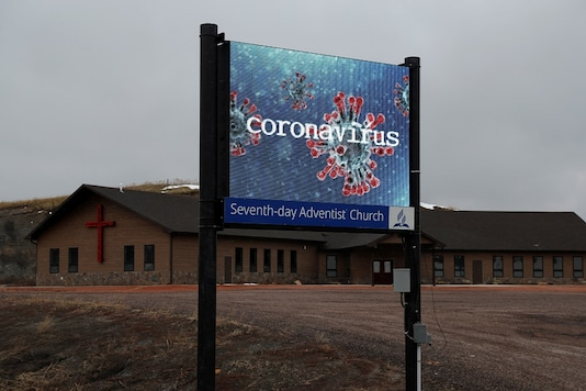 A sign is seen outside a Seventh day Adventist church as the spread of the coronavirus disease (COVID-19) continues, in Hermosa, South Dakota, US. (Reuters)