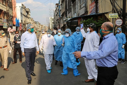 Senior officials inspect Taat Patti Bakhal area in Indore. (PTI Photo)