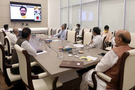 Defence minister Rajnath Singh and other state and union ministers at the inaugural video conference of the Mobile lab on Thursday.