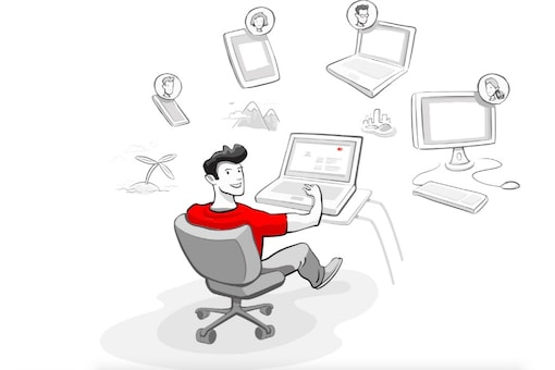An illustration of remote working by AnyDesk