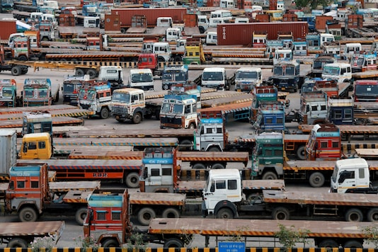 A file photo shows trucks parked at an inland container depot in New Delhi after India's lockdown was extended. (Reuters)