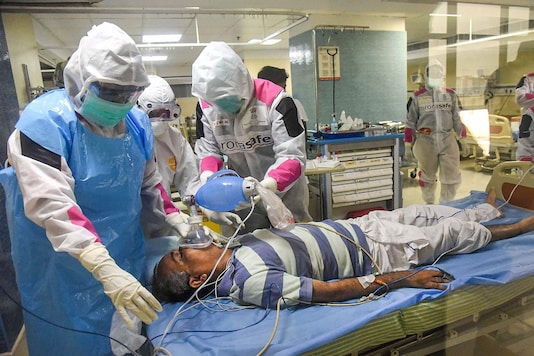 Medics undergo a mock-drill to treat COVID-19 patients, during the nationwide lockdown to curb the spread of coronavirus (PTI Photo)