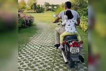 MS Dhoni Enjoys a Spin on His Restored Yamaha RD-350 With Daughter Ziva