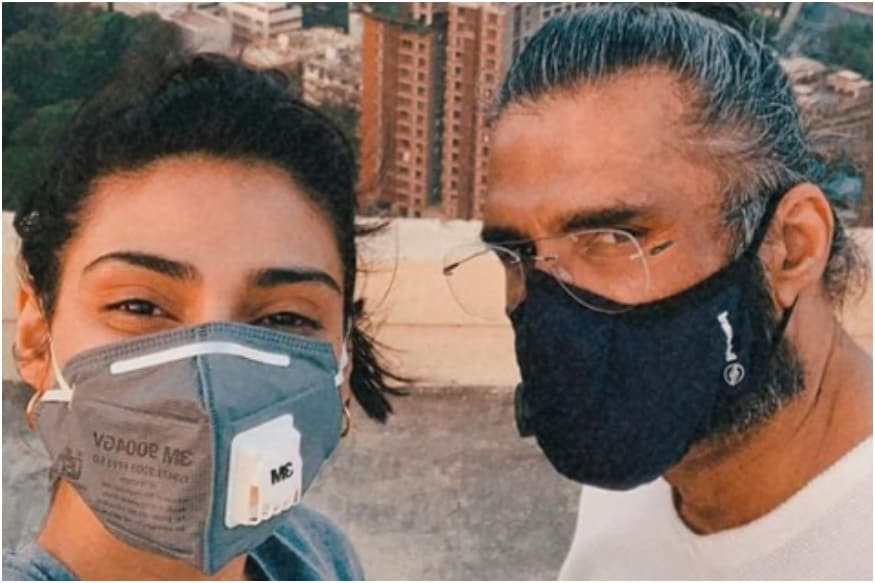 Athiya and Suniel Shetty Share Masked Selfie on Social Media