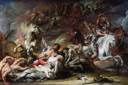 """An undated handout image, """"Death on the Pale Horse"""", by Benjamin West, at the Detroit Institute of Arts. (Handout via The New York Times)"""