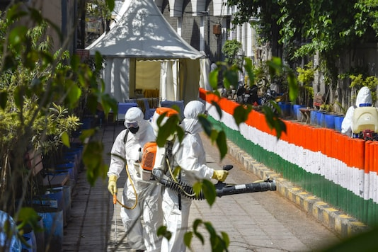 Health workers sanitise an area near the Nizamuddin mosque where the Tablighi Jamaat event was held, in New Delhi on April 1, 2020. (PTI)