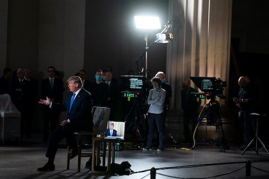 President Donald Trump speaks during a Fox News virtual town hall from the Lincoln Memorial. (AP Photo)