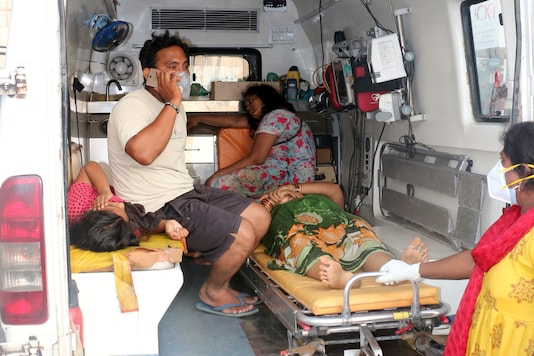 People affected by the gas leak at the LG Polymers Plant are transported in an ambulance in Visakhapatnam on Thursday. (Reuters)