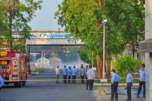 File photo of firefighters outside the LG Polymers in Vizag. (PTI)