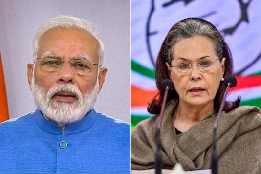 Prime Minister Narendra Modi and Congress president Sonia Gandhi (Photo Credit: PTI and Screenshot)