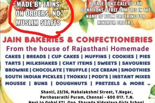 'Made by Jains, No Muslim Staff': Chennai Bakery Draws Flak for Islamophobic Ad
