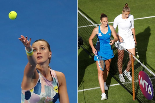 Petra Kvitova (L) and Karolina and Kristyna Pliskova (Photo Credit: Reuters)