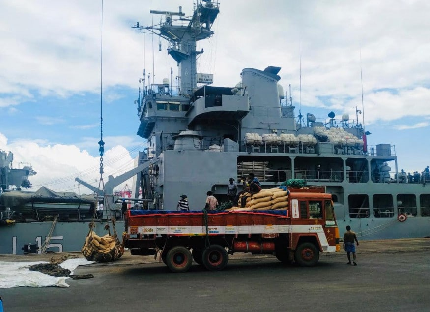 Food supplies to Maldives are being loaded at the Tuticorin Port in India. (Image: Special Arrangement)