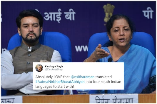 Anurag Thakur played interpreter during Wedneday's media briefing by Finance Minister Nirmala Sitharaman, inspiring many reactions and tweets | Image credit: IANS