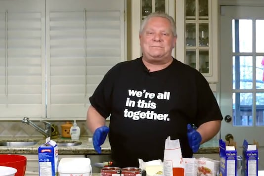 Premier Doug Ford shows off his culinary skills with a 'made from scratch' cheesecake recipe