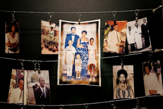 FILE PHOTO: Pictures of the Rwandan Genocide victims donated by survivors are displayed at an exhibition at the Genocide Memorial in Gisozi in Kigali, Rwanda.  REUTERS/Baz Ratner/File Photo