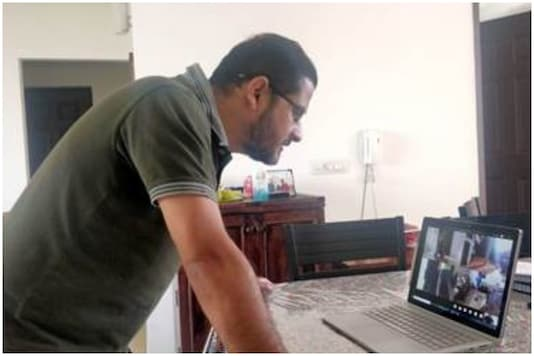 AIFF certified coach Sen has found a way to coach his students - through video conferencing. (Photo Credit: News18 Sports)