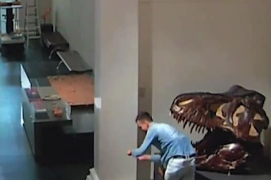 Screengrab of CCTV footage showing the man wandering about in the museum.