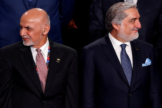 File photo of Afghanistan's President Ashraf Ghani (L) with Afghanistan's Chief Executive Abdullah Abdullah (R).