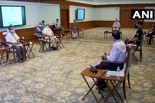 PM Narendra Modi at a meeting with MHA and NDMA officials to review the situation arising from Cyclone Amphan. (Twitter/ANI)