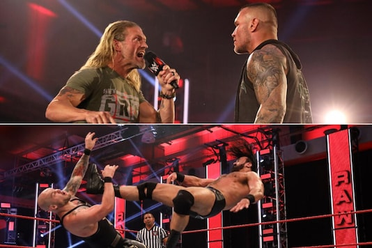 Drew McIntyre and King Corbin (top) and Edge and Randy Orton. (Photo Credit: WWE)