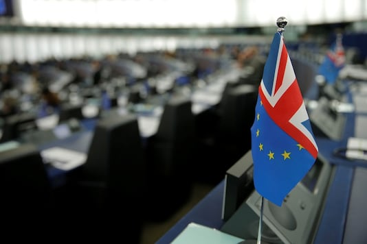 File photo of hybrid flag depicting the EU and the British flags during a debate on the last EU summit and Brexit at the European Parliament in Strasbourg, France. (Reuters)
