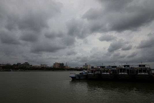 Clouds cover the skies over the Ganges ahead of Cyclone Amphan in Kolkata on Tuesday. (Reuters)