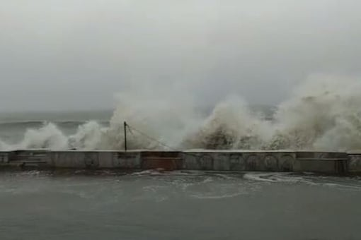 Waves lash at a coast in West Bengal in the wake of the cyclone Amphan.