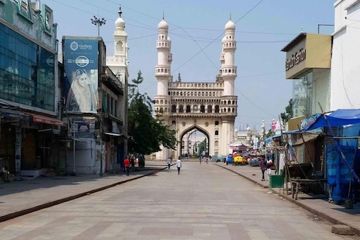 Hyderabad: Road leading to the historic Charminar wear as deserted look during the lockdown in wake of coronavirus pandemic, in Hyderabad, Monday, March 23, 2020. (PTI Photo) (PTI23-03-2020_000305B)