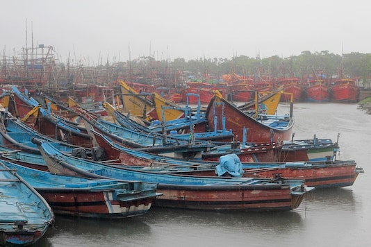 Boats are anchored at a fishing harbor at Paradeep, on the Bay of Bengal coast in Odisha. (AP Photo)